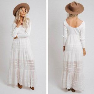 Free People Earth Angel Tiered Lace Maxi Dress